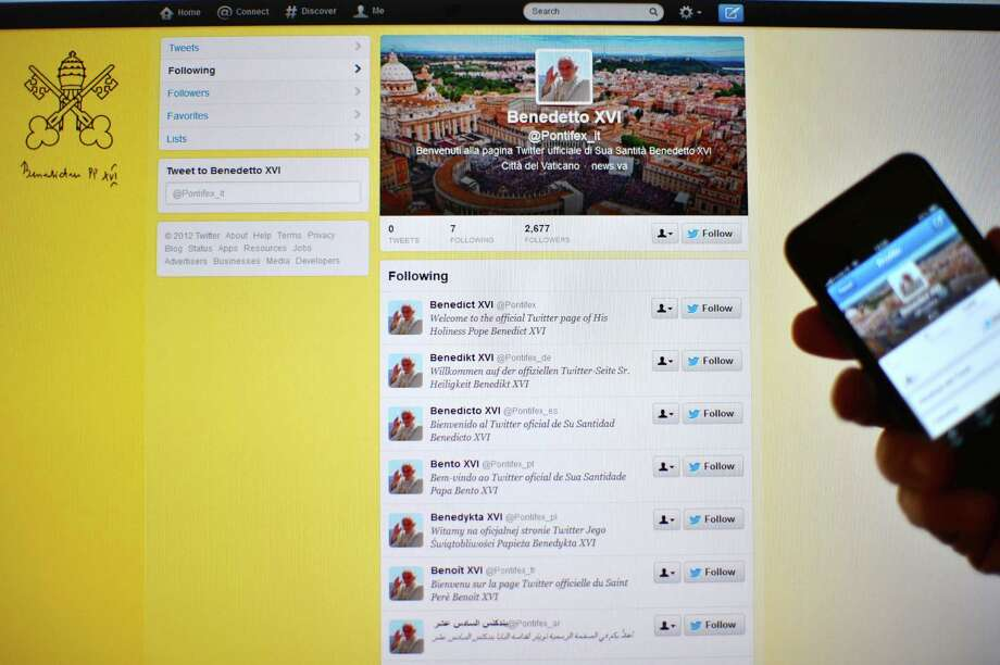 View of the official Twitter account of Pope Benedict XVI in Rome on December 3, 2012.  Pope Benedict XVI will join Twitter from December 12, with regular tweets in eight languages from the account @pontifex just in time for Christmas. AFP PHOTO / GABRIEL BOUYSGABRIEL BOUYS/AFP/Getty Images Photo: GABRIEL BOUYS / AFP