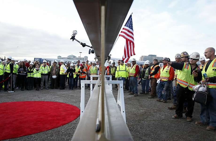 A signed I-beam waits to be raised to the highest point of the new 49ers stadium during the traditional Topping Out ceremony in Santa Clara, Calif., Thursday, December 6, 2012. Photo: Sarah Rice, Special To The Chronicle