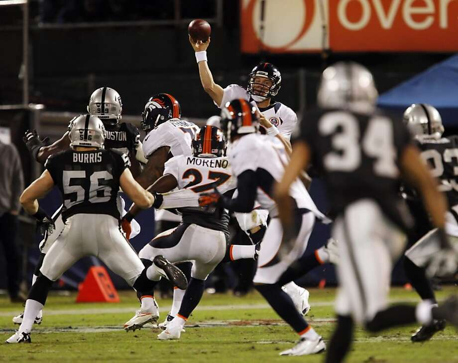 Peyton Manning throws under pressure in the second quarter for a completion to Andre Caldwell. The Oakland Raiders played the Denver Broncos at O.co Coliseum in Oakland, Calif., on Thursday, December 6, 2012. Photo: Carlos Avila Gonzalez, The Chronicle