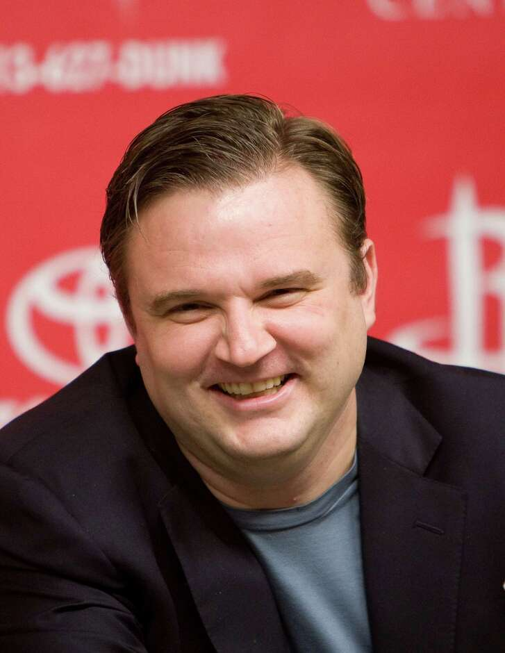 Houston Rockets Daryl Morey laughs when he heard that owner Les Alexander joked the media that he was going to be replaced Tuesday, May 19, 2009, in the Toyota Center in Houston. ( Nick de la Torre / Chronicle )