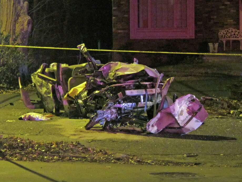 A 30-year-old Bridgeport man was seriously hurt after losing control of his car on Park Avenue and crashing into a telephone pole. Photo: Tom Cleary