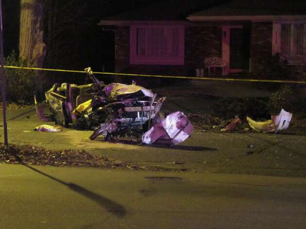 A 30-year-old Bridgeport man was seriously injured in a one-car rollover crash on Park Avenue on Thursday, Dec. 6, 2012. Photo: Tom Cleary