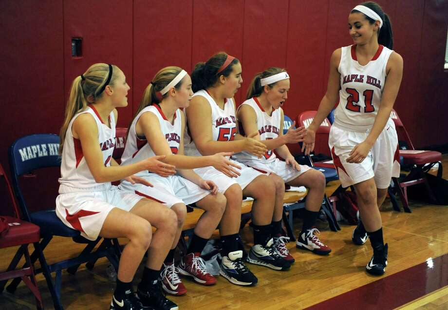 Maple Hill Wildcats varsity starters,  lto r, Anna Curtin, Lindsay Mannion, Elizaabeth Briggs, Anna Despart and Isabella Nelson during their girl's high school basketball game against Coxsackie-Athens in in Castleton, NY Wednesday Dec. 5, 2012. .(Michael P. Farrell/Times Union) Photo: Michael P. Farrell