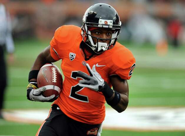 Wide receiver Markus Wheaton #2 of the Oregon State Beavers turns the corner and heads for the end zone for a touchdown in the second quarter of the game against the Nicholls State Colonels on December 1, 2012 at Reser Stadium in Corvallis, Oregon. Photo: Steve Dykes, Getty Images / 2012 Getty Images