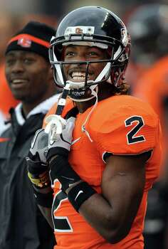 Wide receiver Markus Wheaton #2 of the Oregon State Beavers smiles as he looks up at the scoreboard in the third quarter of the game against the Nicholls State Colonels on December 1, 2012 at Reser Stadium in Corvallis, Oregon. Oregon State won the game 77-3. Photo: Steve Dykes, Getty Images / 2012 Getty Images