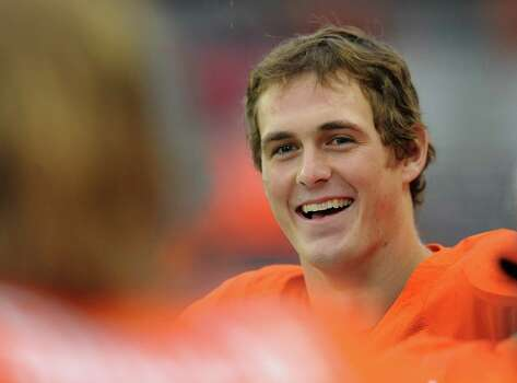 Quarterback Sean Mannion #4 of the Oregon State Beavers smiles along the sidelines late in the fourth quarter of the game against the Nicholls State Colonels on December 1, 2012 at Reser Stadium in Corvallis, Oregon. Oregon State won the game 77-3. Photo: Steve Dykes, Getty Images / 2012 Getty Images