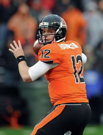 Quarterback Richie Harrington #12 of the Oregon State Beavers sets to pass the ball in the fourth quarter of the game against the Nicholls State Colonels on December 1, 2012 at Reser Stadium in Corvallis, Oregon. Oregon State won the game 77-3. Photo: Steve Dykes, Getty Images / 2012 Getty Images