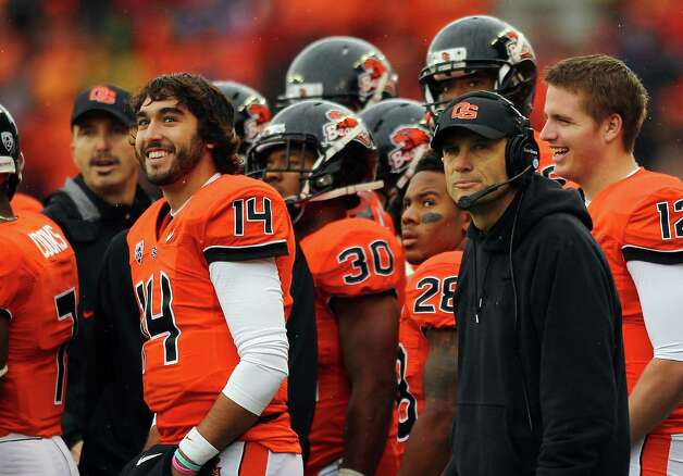 Head coach Mike Riley of the Oregon State Beavers watches the scoreboard against the Oregon Ducks during the 116th Civil War on November 24, 2012 at the Reser Stadium in Corvallis, Oregon.  (Photo by Jonathan Ferrey/Getty Images) Photo: Jonathan Ferrey, Associated Press / 2012 Getty Images