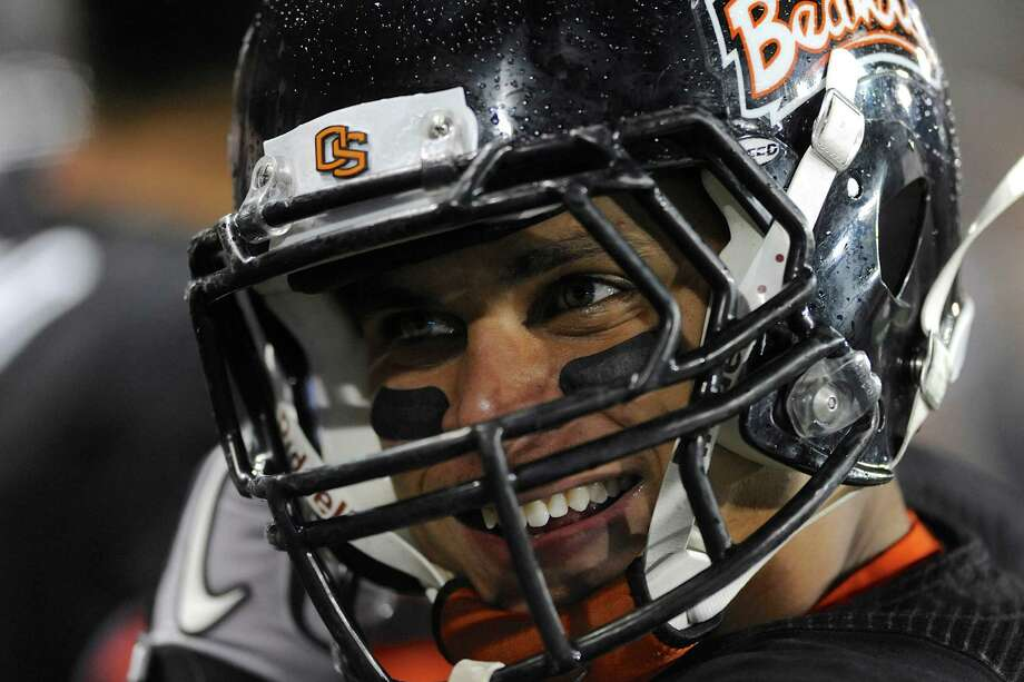 Oregon State's Jordan Poyer on the sideline during the final quarter of a win against California in an NCAA college football game in Corvallis, Ore., Saturday Nov.,17, 2012. (AP Photo/Greg Wahl-Stephens) Photo: Greg Wahl-Stephens, Associated Press / FR29287 AP