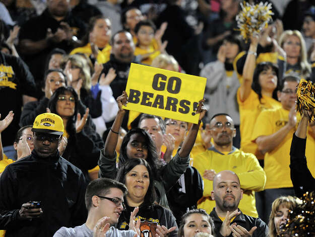 Brennan fans cheer on the Bears during a NISD three school football playoff pep rally for Brandeis, Brennan and O'Connor at Farris Stadium in San Antonio, Thursday, December 6, 2012.