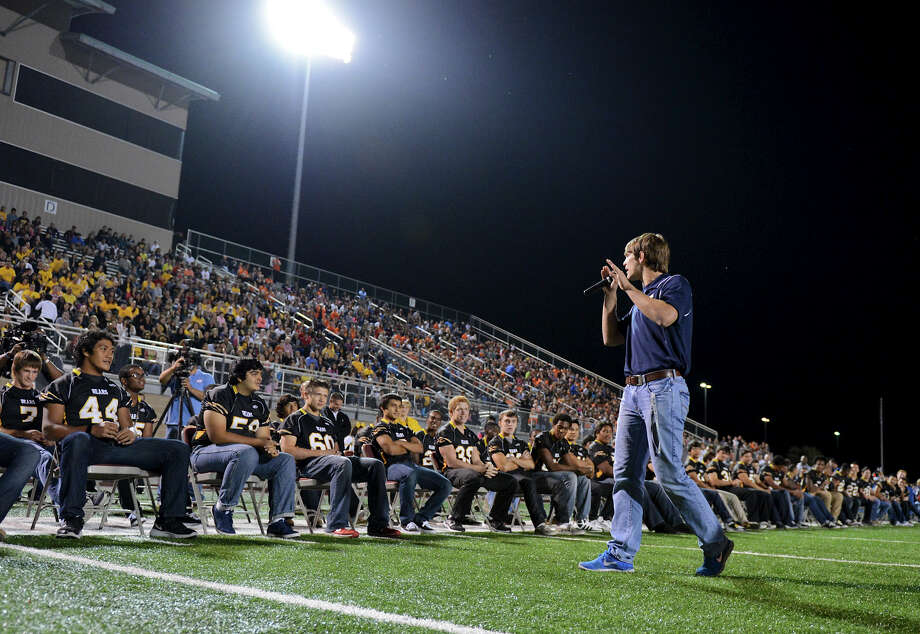 O'Connor team captain Luke Farmer gives an inspirational speech as he walks in front of the Brennan players during a NISD three school football playoff pep rally for Brandeis, Brennan and O'Connor at Farris Stadium in San Antonio, Thursday, December 6, 2012.