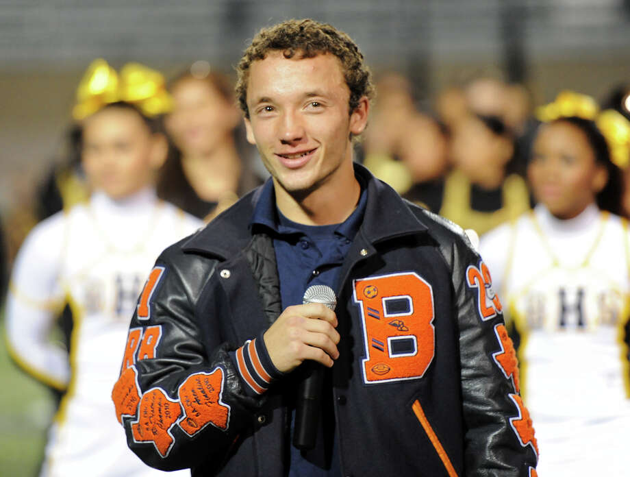 Brandies team captain Trinton Ynclan addresses the crowd during a NISD three school football playoff pep rally for Brandeis, Brennan and O'Connor at Farris Stadium in San Antonio, Thursday, December 6, 2012. John Albright / Special to the Express-News. Photo: JOHN ALBRIGHT, Express-News / San Antonio Express-News