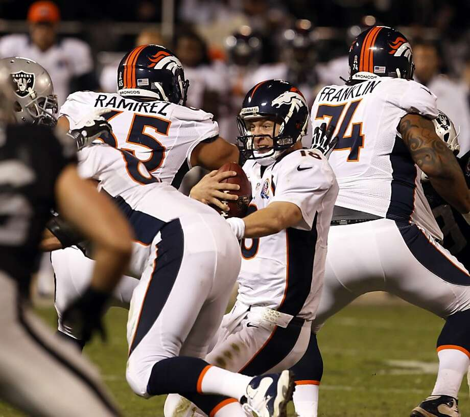 Peyton Manning reacts as the pocket collapses in the second quarter. He was sacked on the play. The Oakland Raiders played the Denver Broncos at O.co Coliseum in Oakland, Calif., on Thursday, December 6, 2012. Photo: Carlos Avila Gonzalez, The Chronicle