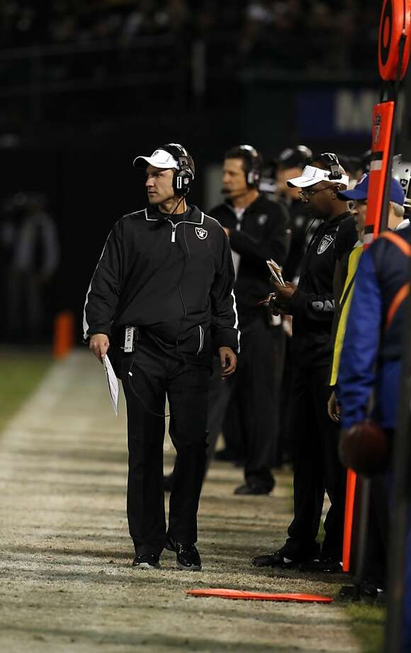 Dennis Allen returned to coach the Raiders after the death of his father earlier this week. The Oakland Raiders played the Denver Broncos at O.co Coliseum in Oakland, Calif., on Thursday, December 6, 2012. Photo: Carlos Avila Gonzalez, The Chronicle