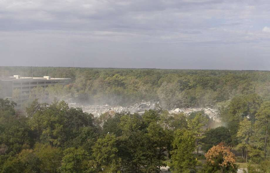 View from inside building 11 on the Lone Star College-University Park campus, 20515 Texas 249, during an implosion of two buildings Sunday, Sept. 18, 2011. (Melissa Phillip / Houston Chronicle)