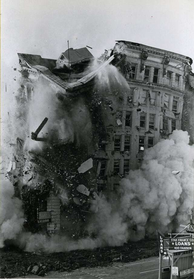 Stewart Building implosion, July 15, 1973.  (David Nance / Houston Chronicle)