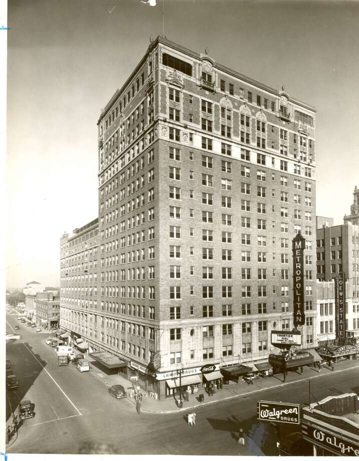 This photograph taken in 1945 of the Lamar Hotel, with Metropolitan and Loew's theaters, is characteristic of the work of the late architect Alfred C. Finn. (Houston Chronicle Files)
