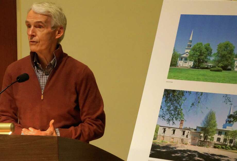 John Walsh, chairman of the Saugatuck Congregational Church's Board of Trustees, discusses plans to restore the fire-damaged section of the church complex at Thursday's Planning and Zoning Commission meeting. Westport CT 12/6/12 Photo: Paul Schott / Westport News