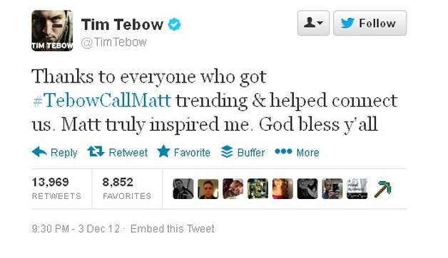 Tebow's Tweet after connecting with Shen student Matt Hardy.