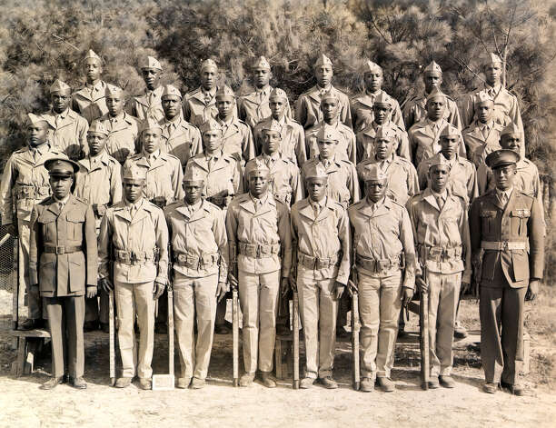 Calvin Curtis, in the second row, second from right, poses with his Marine Corps unit in North Carolina. Photo: Courtesy Photo