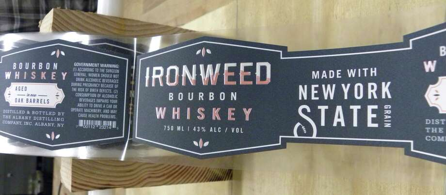 STEVE BARNES/TIMES UNION Labels for Albany Distilling Co.'s new Ironweed bourbon.