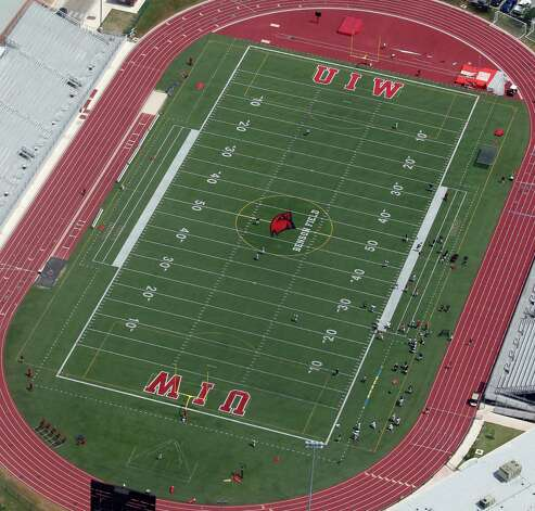 The University of the Incarnate Word Benson Field football field is seen in this April 10, 2012 aerial photo. Photo: William Luther, San Antonio Express-News / © 2012 WILLIAM LUTHER