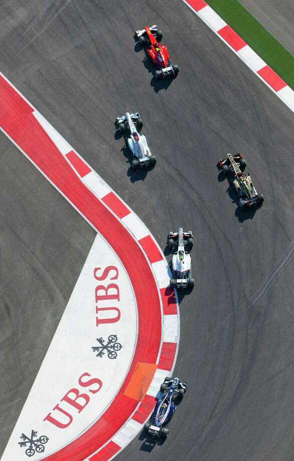 The Circuit of the Americas racetrack is seen Sunday Nov. 18, 2012 in an aerial image taken during the track's inaugural Formula 1 Grand Prix. Photo: William Luther, San Antonio Express-News / © 2012 San Antonio Express-News