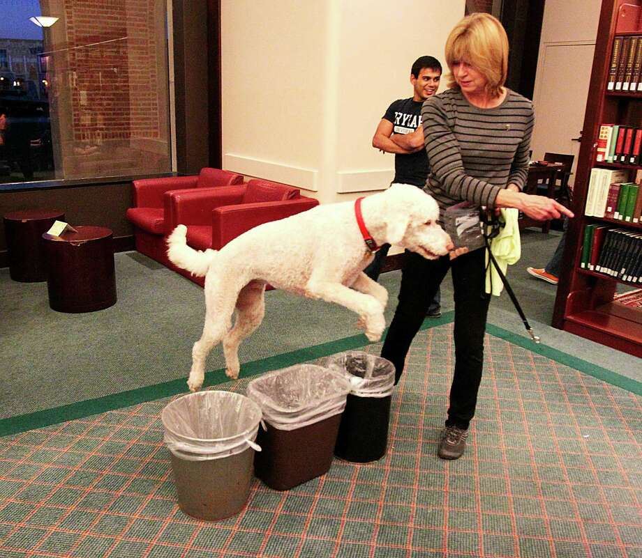 Owner Janice Hartrick has her dog Rudy jumping trash cans to show off for the students at Rice University during a visit from Faithful Paws a pet therapy group.  Rice University students looked to pet therapy to relieve the stress of  studying for finals, Thursday December 6, 2012 at Rice University's Fondren Library. Photo: Billy Smith II, Chronicle / Houston Chronicle