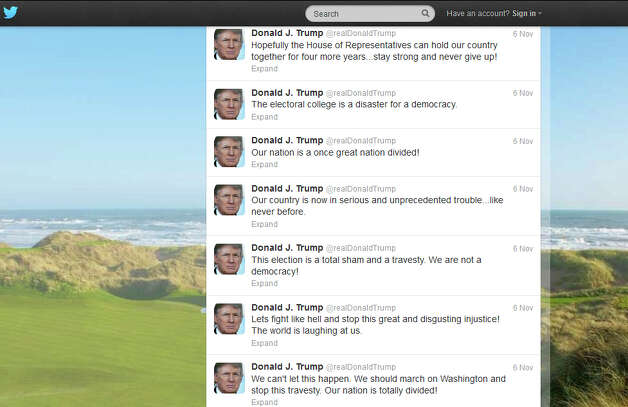 "Over on Twitter, Donald Trump had a public meltdown after President Barack Obama won re-election on Nov. 6, writing, among other things: ""We should march on Washington and stop this travesty,"" ""Lets (sic) fight like hell and stop this great and disgusting injustice!"" and ""This election is a total sham and a travesty. We are not a democracy!"" Photo: Twitter"