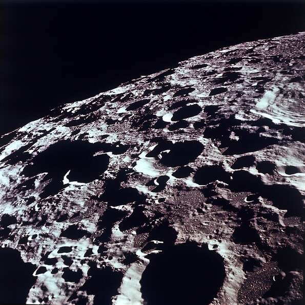This photo, released by NASA July 20, 1969, shows an Apollo 11 southeasterly view of the lunar far s