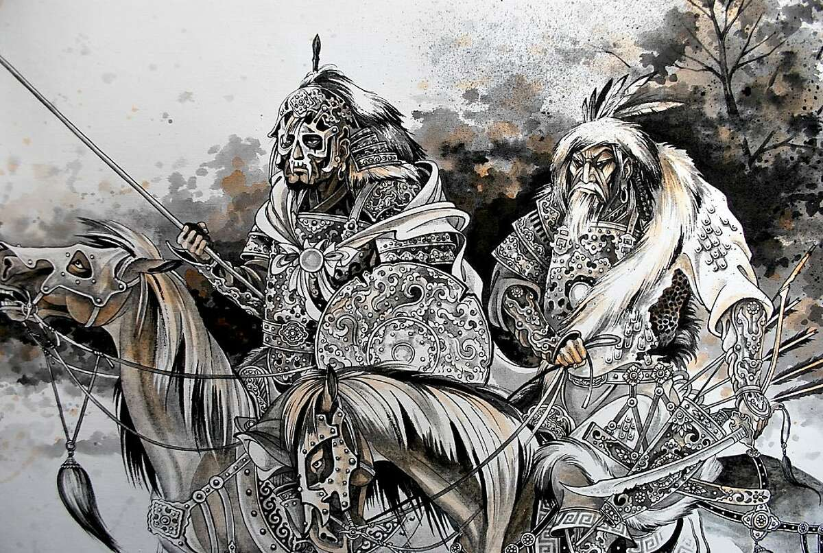 Artist Zaya's vividly detailed images of Mongol warriors go on view at Shooting Gallery on Saturday.