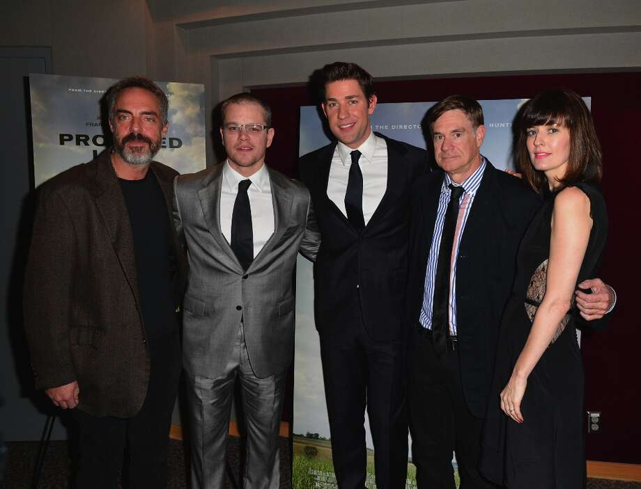 (L-R) Actor Titus Welliver, actor Matt Damon, actor John Krasinski, director Gus Van Sant and actress Rosemarie DeWitt  arrive to the premiere of Focus Features' Promised Land at the Directors Guild Of America on December 6, 2012 in Los Angeles, California. Photo: Alberto E. Rodriguez, Getty Images / 2012 Getty Images