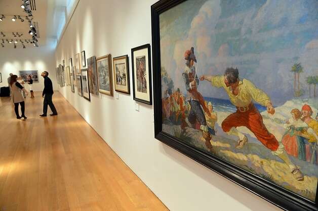 """The Duel on the Beach, 1926"" by painter N.C. Wyeth, sold for $1.1 million at the auction of National Geographic images. Photo: Stan Honda, AFP/Getty Images"