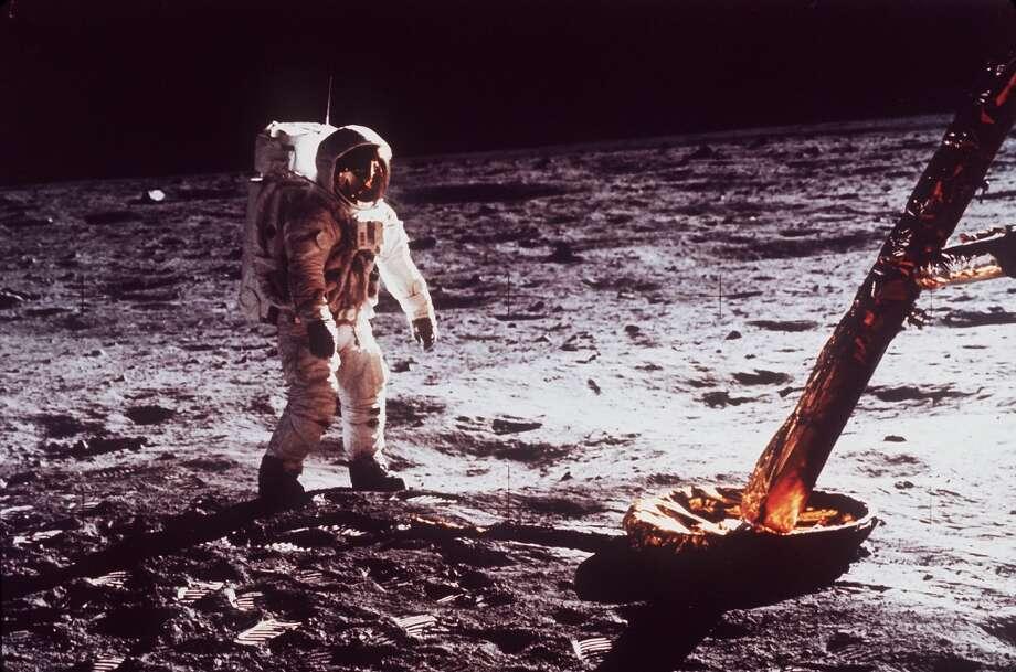 Astronaut Edwin Buzz Aldrin walks by the footpad of the Apollo 11 Lunar Module, July 1969. (AP Photo/NASA) (AP)