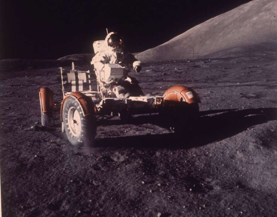 Astronaut Eugene A. Carnan makes a short checkout of the Lunar Roving Vehicle during the early part of the Apollo 17 extravehicular activity (EVA-1) at the Taurtus-Littrow landing site. (AP/NASA PHOTO) (AP)