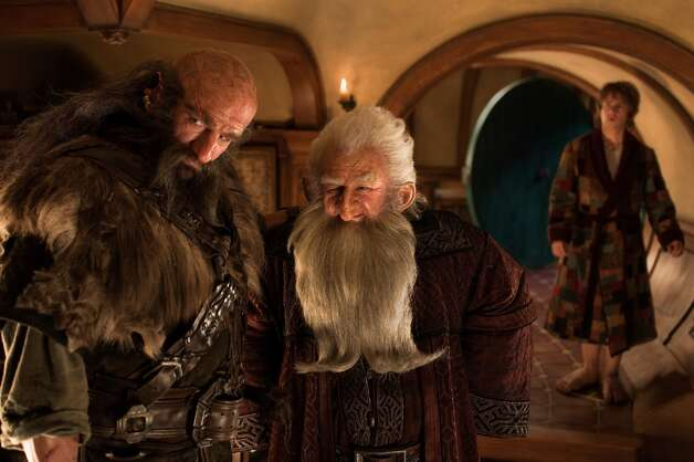 (L-r) GRAHAM McTAVISH as Dwalin, KEN STOTT as Balin and MARTIN FREEMAN as Bilbo Baggins in the fantasy adventure THE HOBBIT: AN UNEXPECTED JOURNEY, a production of New Line Cinema and Metro-Goldwyn-Mayer Pictures (MGM), released by Warner Bros. Pictures and MGM.