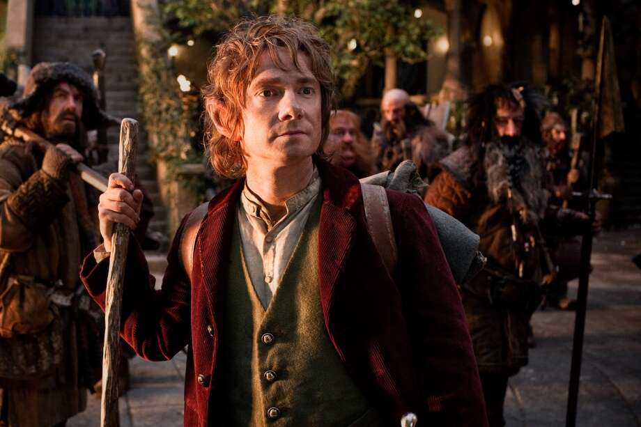 (L-r) JAMES NESBITT as Bofur, MARTIN FREEMAN (front) as Bilbo Baggins, STEPHEN HUNTER as Bombur, GRAHAM McTAVISH as Dwalin, WILLIAM KIRCHER as Bifur, and JED BROPHY as Nori in the fantasy adventure THE HOBBIT: AN UNEXPECTED JOURNEY, a production of New Line Cinema and Metro-Goldwyn-Mayer Pictures (MGM), released by Warner Bros. Pictures and MGM.