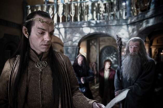 (L-r) HUGO WEAVING as Elrond, RICHARD ARMITAGE as Thorin Oakenshield, MARTIN FREEMAN as Bilbo Baggins and IAN McKELLEN as Gandalf in the fantasy adventure €œTHE HOBBIT: AN UNEXPECTED JOURNEY,€ a production of New Line Cinema and Metro-Goldwyn-Mayer Pictures (MGM), released by Warner Bros. Pictures and MGM.