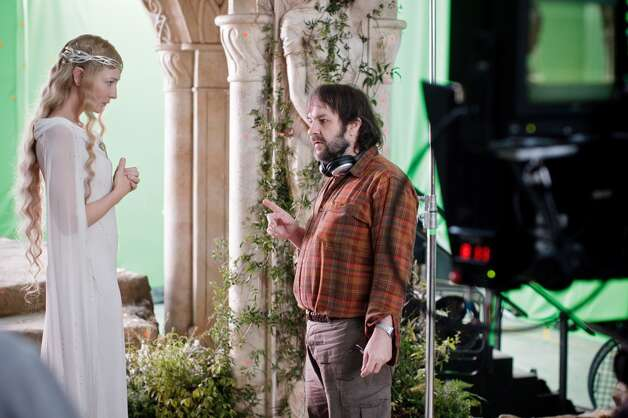 (L-r) CATE BLANCHETT and director PETER JACKSON on the set of the fantasy adventure €œTHE HOBBIT: AN UNEXPECTED JOURNEY,€ a production of New Line Cinema and Metro-Goldwyn-Mayer Pictures (MGM), released by Warner Bros. Pictures and MGM.