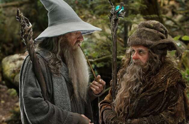 (L-r) IAN McKELLEN as Gandalf and SYLVESTER McCOY as Radagast in the fantasy adventure THE HOBBIT: AN UNEXPECTED JOURNEY,€ a production of New Line Cinema and Metro-Goldwyn-Mayer Pictures (MGM), released by Warner Bros. Pictures and MGM.