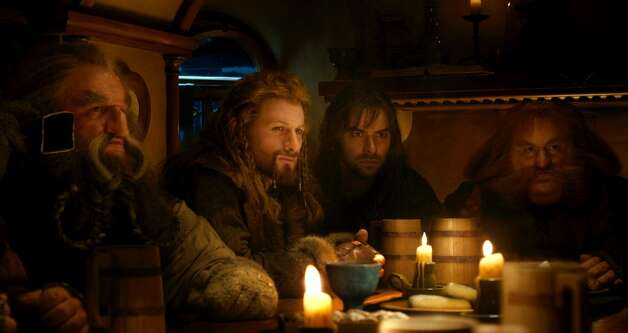 (L-r) JOHN CALLEN as Oin, DEAN O'GORMAN as Fili, AIDAN TURNER as Kili and STEPHEN HUNTER as Bombur in the fantasy adventure THE HOBBIT: AN UNEXPECTED JOURNEY, a production of New Line Cinema and Metro-Goldwyn-Mayer Pictures (MGM), released by Warner Bros. Pictures and MGM.
