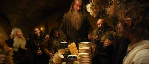 (L-r) KEN STOTT as Balin, AIDAN TURNER as Kili, WILLIAM KIRCHER as Bifur, IAN McKELLEN as Gandalf, GRAHAM McTAVISH as Dwalin, Mark Hadlow as Dori and MARTIN FREEMAN as Bilbo Baggins and in the fantasy adventure THE HOBBIT: AN UNEXPECTED JOURNEY,€ a production of New Line Cinema and Metro-Goldwyn-Mayer Pictures (MGM), released by Warner Bros. Pictures and MGM.