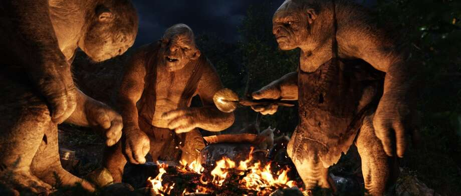 (L-r) The trolls: William, Tom and Bert (performed by PETER HAMBLETON, MARK HADLOW and WILLIAM KIRCHER respectively) in the fantasy adventure THE HOBBIT: AN UNEXPECTED JOURNEY,€ a production of New Line Cinema and Metro-Goldwyn-Mayer Pictures (MGM), released by Warner Bros. Pictures and MGM.