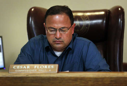 Maverick County Commissioner Cesar Flores of Precinct 4 at a Commissioners meeting at the County Courthouse in Eagle Pass, Thursday, Nov. 29, 2012. Rudy Heredia, Commissioner of Precinct 2, and several county employees have been indicted for misuse of grant funds, among other charges. Photo: Bob Owen, San Antonio Express-News / © 2012 San Antonio Express-News