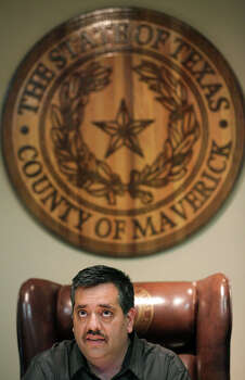 Maverick County Judge David R. Saucedo at a meeting at the County Courthouse in Eagle Pass, Thursday, Nov. 29, 2012. Rudy Heredia, Commissioner of Precinct 2, and several county employees have been indicted for misuse of grant funds, among other charges. Photo: Bob Owen, San Antonio Express-News / © 2012 San Antonio Express-News