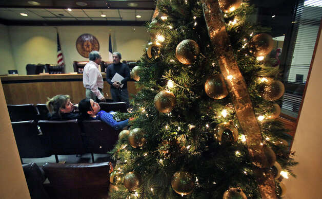 Christmas in the Maverick County Commissioners Court, in Eagle Pass, is being clouded this year by the indictment of county officials and workers.  Thursday, Nov. 29, 2012. Rudy Heredia, Commissioner of Precinct 2, and several county employees have been indicted for misuse of grant funds, among other charges. Photo: Bob Owen, San Antonio Express-News / © 2012 San Antonio Express-News