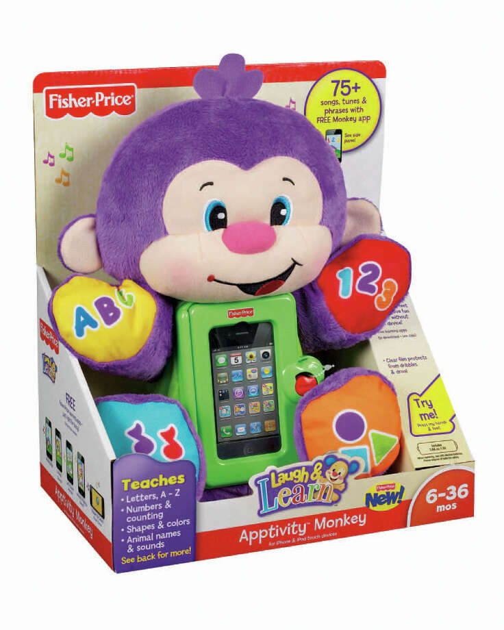 1) Laugh & Learn Apptivity Monkey by Fisher Price, $30, age 6 months and up. A teddy bear just won't cut it for today's jaded, screen-addicted babies. That's why the triple trademarked Fisher-Price Laugh & Learn Apptivity Monkey makes the perfect gift for your favorite droolers. It's the first stuffy with an iPhone in its belly, so your little one can get everything she needs—Hugs! Video games! Milk!* —from the same creepy package! (Unspecified) Photo: Fisher-Price / Unspecified