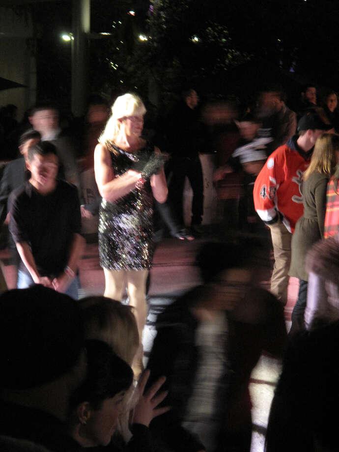 Union Square, Dec. 6, 2012; Sparkling during the group skate  (Leah Garchik)