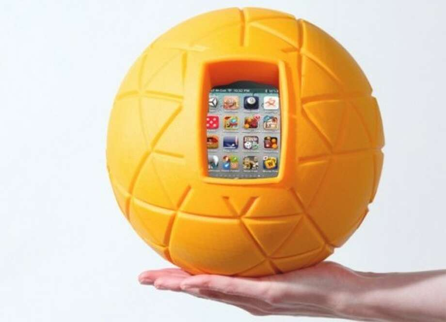 """3) TheO ball by Physical Apps, price and age coming soon. Since the dawn of time, children have longed for something fun to do with 3-dimensional round objects. But thanks to the geniuses at Physical Apps, the wait is over. Simply insert your $400 smartphone into the TheO ball, hand it off to your kids, and in no time, they'll be playing games their technologically primitive ancestors couldn't dream of—like """"Hot Potato."""""""