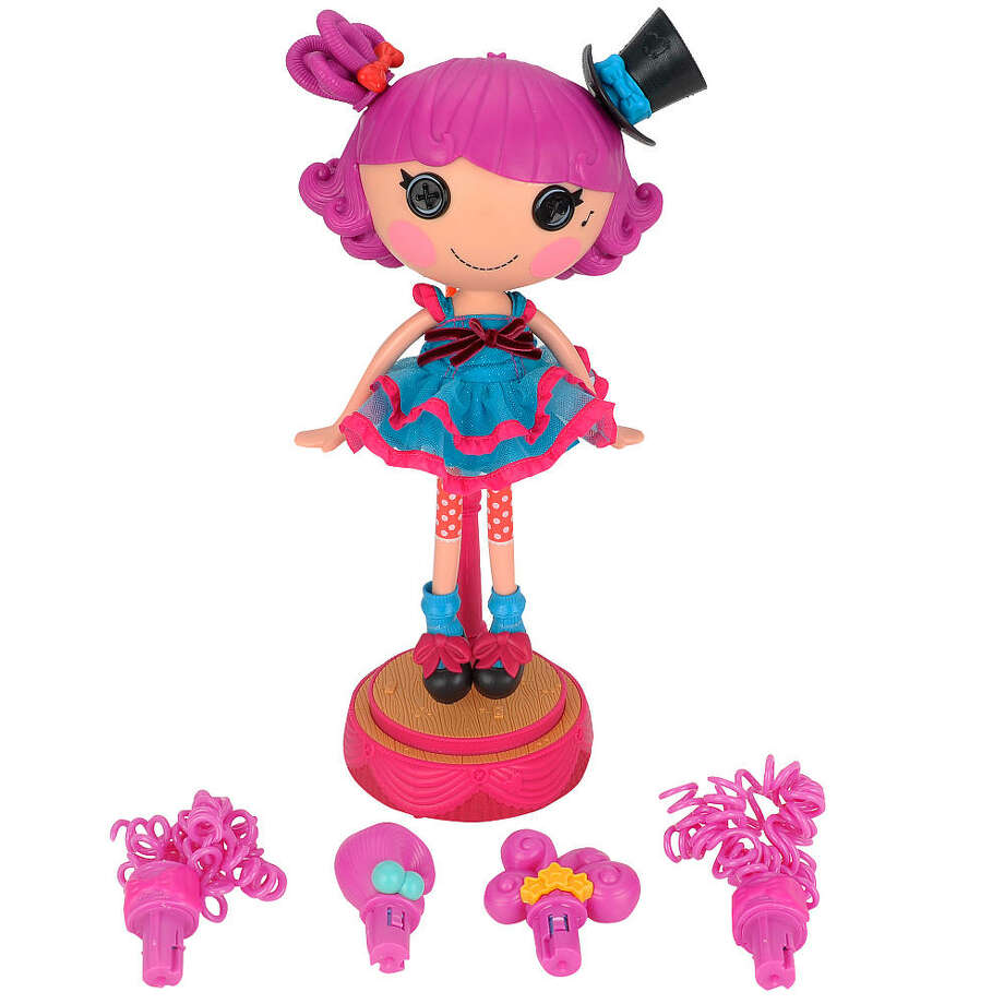 Lalaloopsy Silly Hair Star Doll: Harmony B. Sharp, $69.99, ages 4-6. This 12-inch doll comes with six removable hairstyles that play different songs when placed on Harmony's head. Simply mount her on the dancing stage, press her chest, and watch as she sings, grooves and spins her hair around. The one thing this gal doesn't come with? Stage fright, of course!